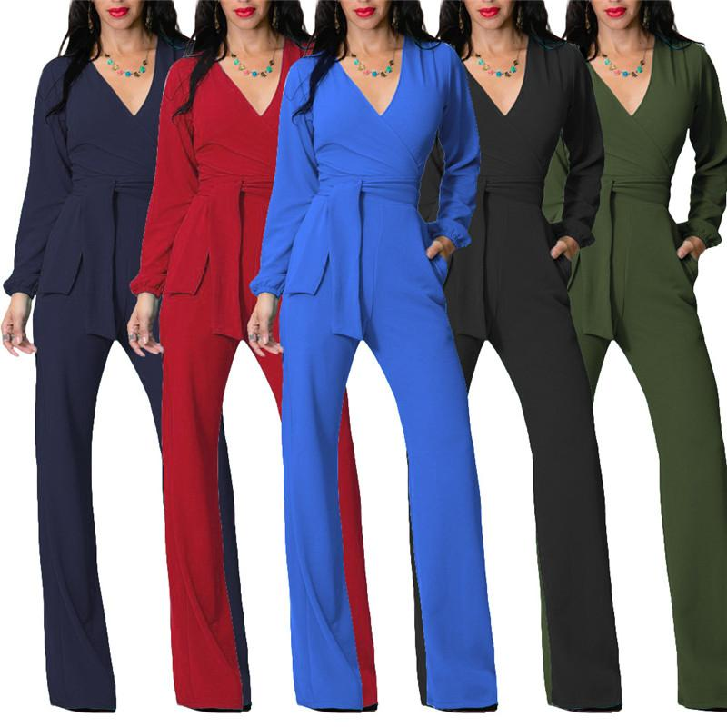 Ladies Office Casual Jumpsuits 2018 New Summer Women Long Sleeve ... 8b6924fc6