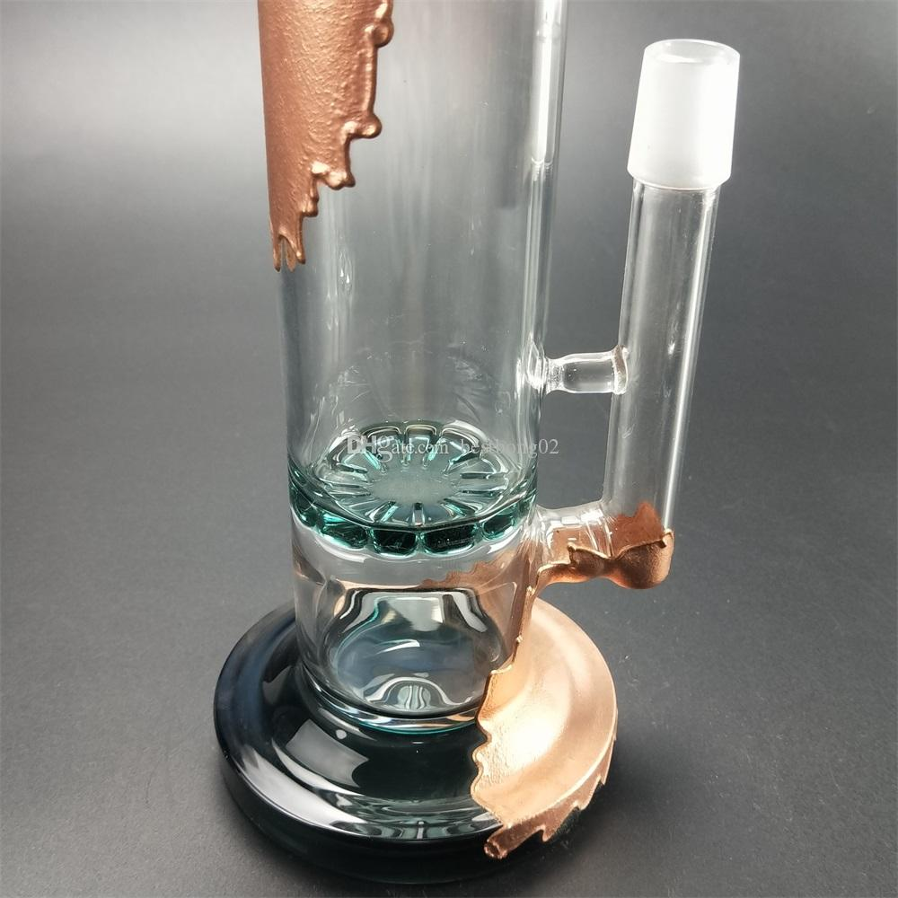 beaker bong and 33cm high New design glass bong water pipe, double star filter Honey bucket bubble clip for suction.