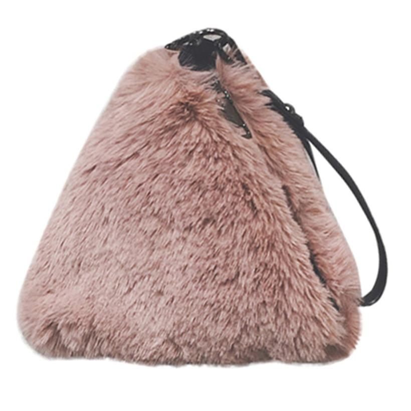 d2ffba40b63b Hairy Bag For Women 2018 Chain Crossbody Bags Female Triangle Handbags  Woman Winter Plush Warm Shoulder Bag Drop Shipping Clutch Bags Beach Bags  From ...