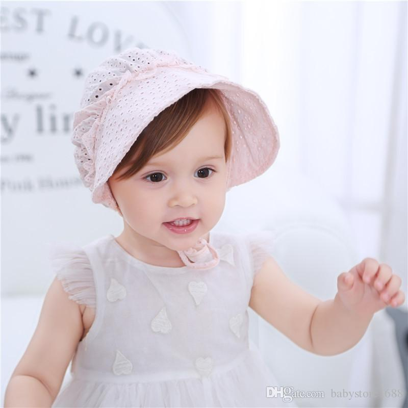 Sweet Princess Baby Girl Hat Summer Lace Up Beanie Pink White Cotton Bonnet  Enfant For 4 24M UK 2019 From Babystore1688 b9e84d7e52d1