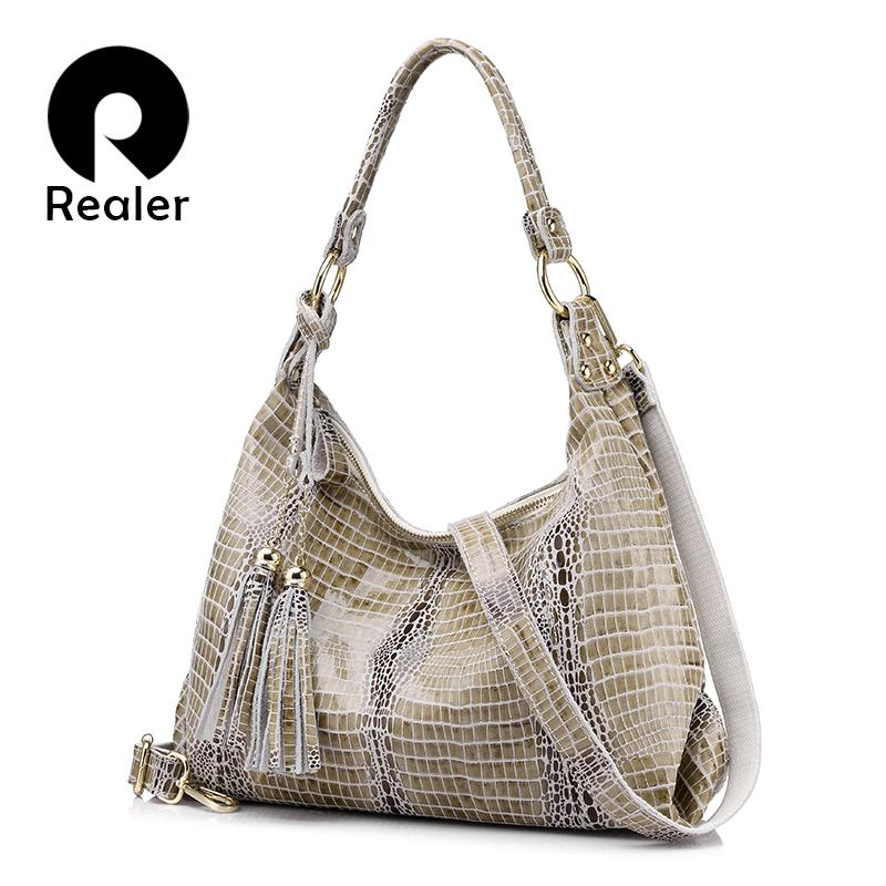 79a4d805359a Realer Woman Bag Genuine Leather Women Shoulder Bag Female Crocodile  Pattern Hobos With Tassel Handbag Large Messenger Cheap Bags Bags For Women  From ...