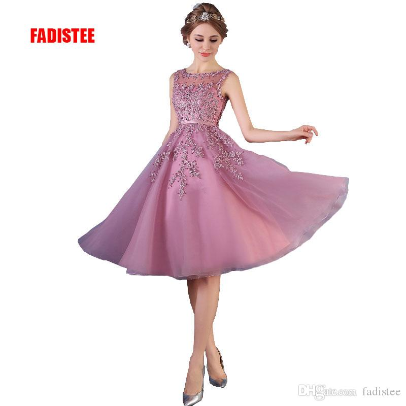 Cheap FADISTEE New Arrival Elegant Lace Dress Evening Dresses Prom Party  Short Sleeveless Formal O-neck Pattern Sexy Style See through Back f4b8df16bb30
