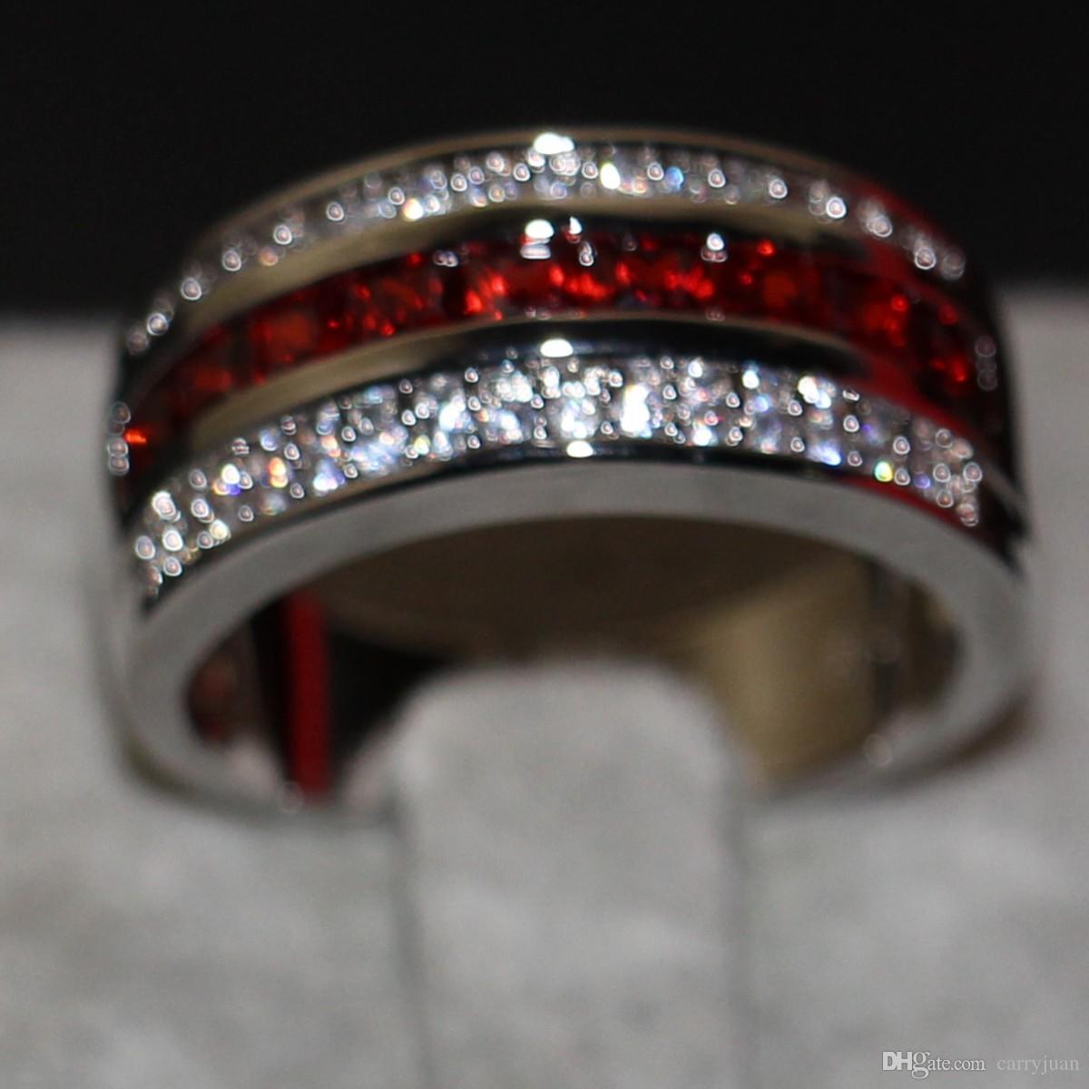 Erkek Moda Takı 10KT Beyaz Altın Dolgulu Prenses Kesim Kırmızı Garnet CZ Elmas Taşlar Erkekler Düğün Nişan Band Yüzük için Severler 'Hediye