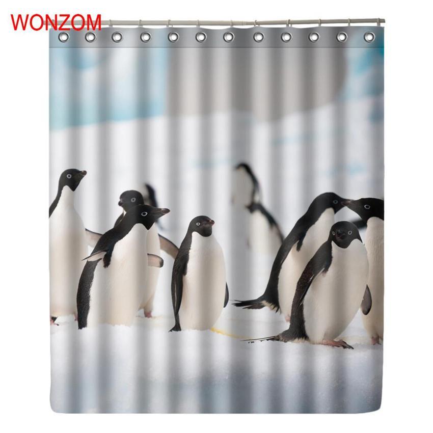 Großhandel Wonzom Pinguin Dusche Vorhänge Bad Mit 12 Haken