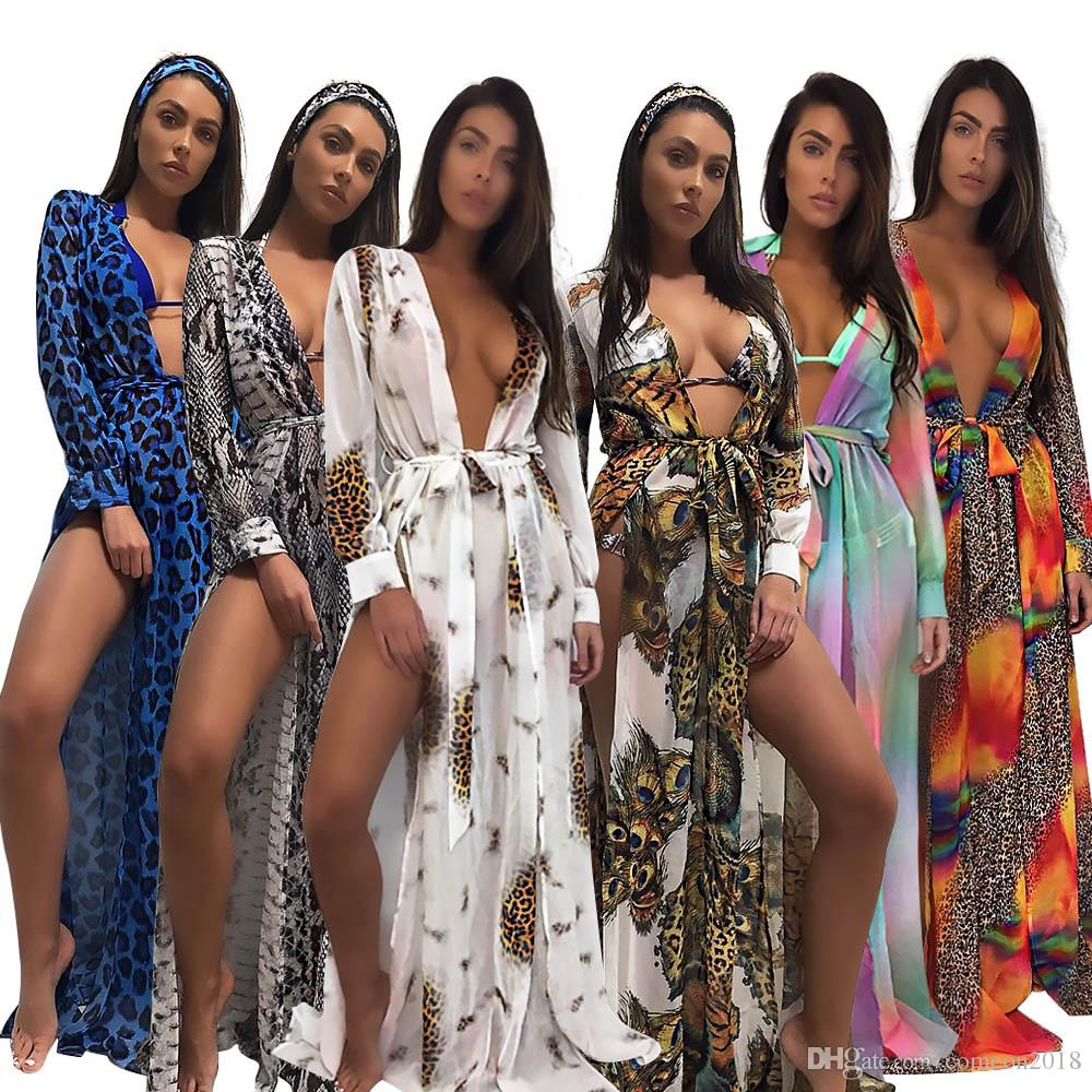 42f4b08bae69c 2018 Summer Maxi Dresses Lady Long Sleeve Leopard Dress Beach Chiffon  Dresses Fashion Bowtie Deep V Print Chiffon Dress Princess Dress Womens  Cocktail ...