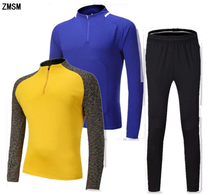 24fde94beb5 2019 ZMSM Adult Running Sets Men Long Sleeve Training Suit Football Jackets    Pants Half Zipper Outdoor Soccer Running Tracksuit PT02 From Lvmangguo