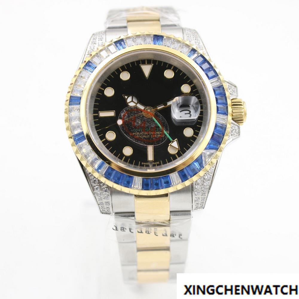7d3dbc6d1b48 Compre Top Venda Marca De Lujo Para Hombre Reloj Mecánico 40 Mm Anillo De  Diamante Boca Fecha Reloj Movimiento De Barrido AAA Relojes 22 A  127.54  Del ...