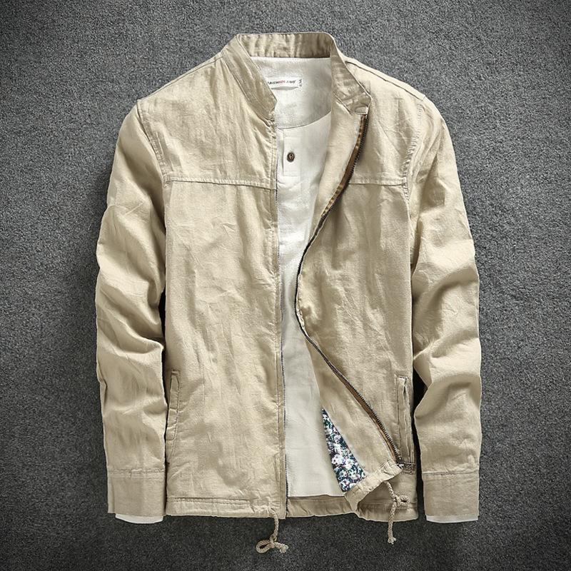 79653db8c2a0 YuWaiJiaRen 2018 Fashion Linen Jacket Men Breathable Stand Collar ...