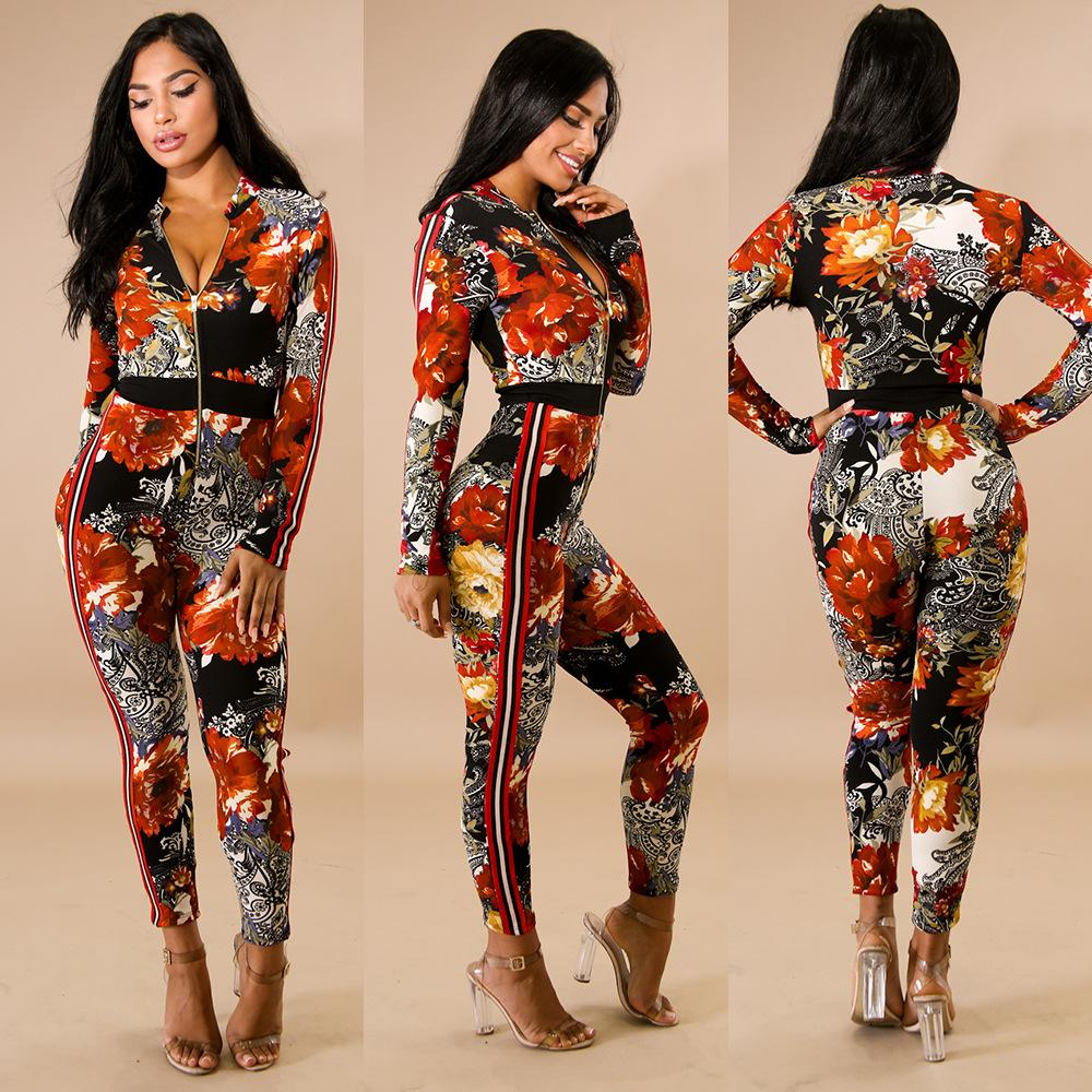 05da9103bea 2019 Casual Long Sleeve Zippers Print Women Jumpsuit Turtleneck Top Long  Skinny Pants Ladies Romper Sexy Fashion Party Wear Floral Print Color From  ...