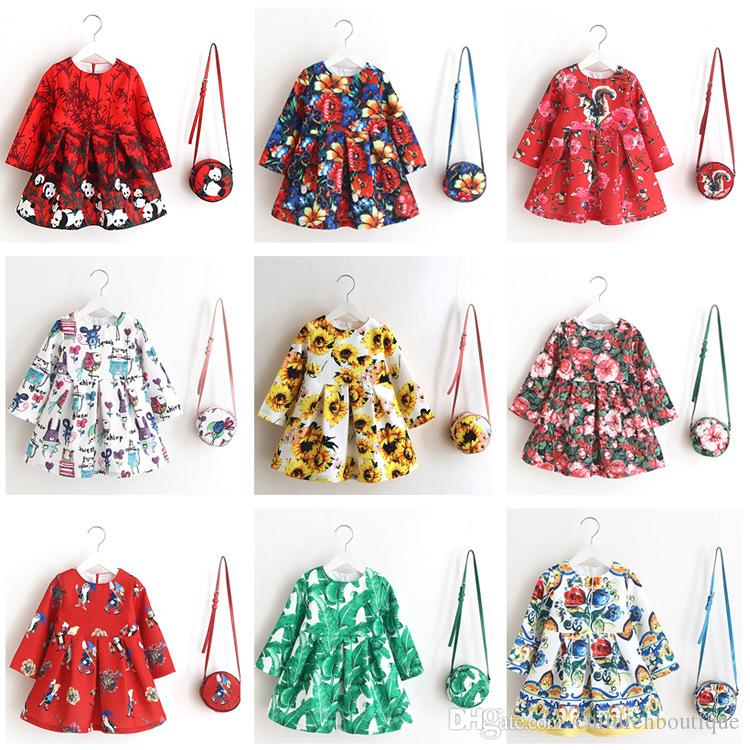 Kids Clothes Baby Dress 2018 Summer Cartoon Printing Beach Dress With Matching Round Shoulder Bags 2Pcs Sets Girls Princess Clothing Purses