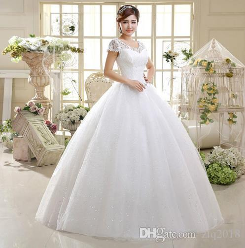 774af54fe48 Cheap Under 100 Ball Gown Wedding Dresses 2018 Scoop Lace Short Sleeves  Crystal Sash Plus Size Bridal Gowns Lace Sleeve Wedding Dress Lace Wedding  Gowns ...
