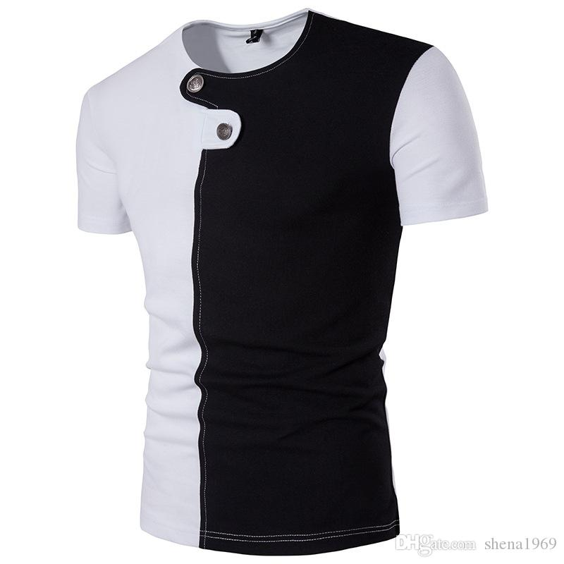 Hip-hop yüksek sokak yaz yeni erkekler splice kişilik düğmesi T-shirt