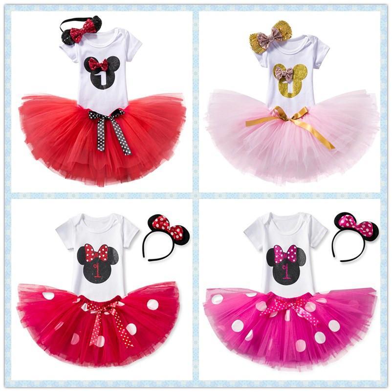 2f4f27e553483 Acheter Petite Princesse Premier Anniversaire Tenues Barboteuse + Tutu Robe  + Bandeau Nouveau Né Bébé Fille Vêtements Fête Des Enfants Costume Enfants  ...