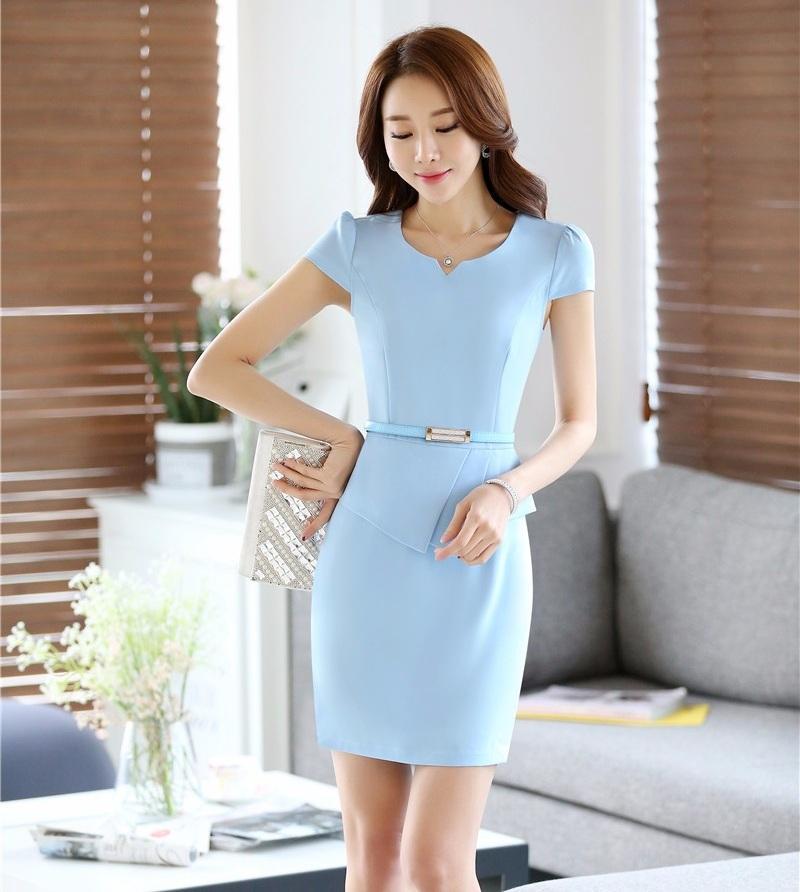 Großhandel Sommer Mode Frauen Arbeiten Kleider Kurzarm Hellblau Büro