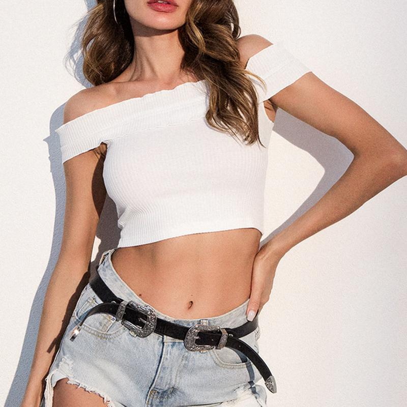 d0e2cc89757f6 2019 White Knitted Crop Top Sexy Off Shoulder Ruffles Tank Tops Women Short  Tees Knit T Shirt Casual 90s Cool Streetwear Camis From Clothwelldone