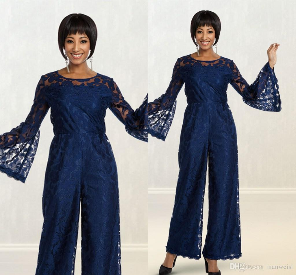 Jumpsuits Blue New Mother Of Bridal Pant Suits For Wedding Formal Outfit Garment Long Sleeve Lace Appliqued Prom Evening Dress