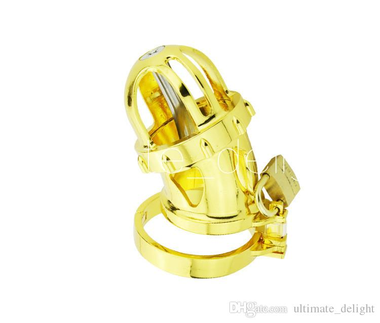 Adult Game,Cock Ring,24k Gold Plating Male Chastity Device,Cock Cage,Penis Ring,Men's Virginity Lock,Chastity Belt,A198