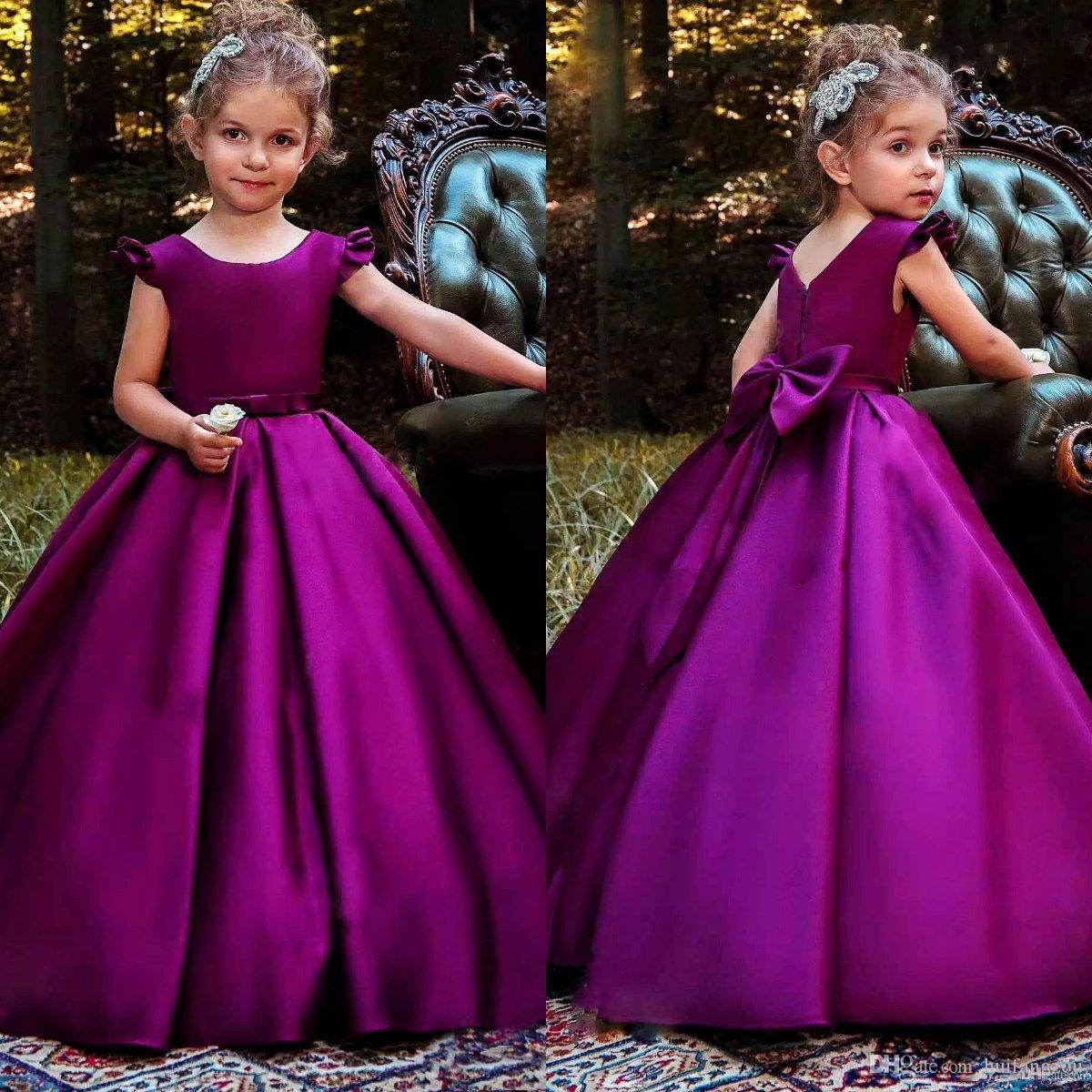 82526e1717e 2019 Kids Designer Clothes Flower Girl Dresses With Jewel Neck Satin Bow  Sash Ball Gown Girls Pageant Dresses First Communion Dress My Girl Dress  Navy ...