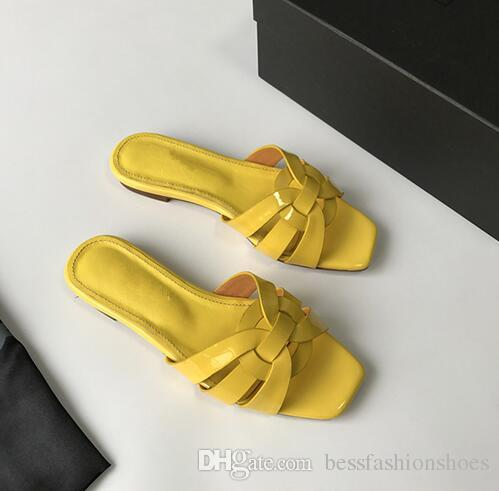 Red Rose Yellow Black Color Criss cross Ladies Sandals Flat heel Leather Summer Beach Slides Womens Slipper Female Party Slippers Mujers