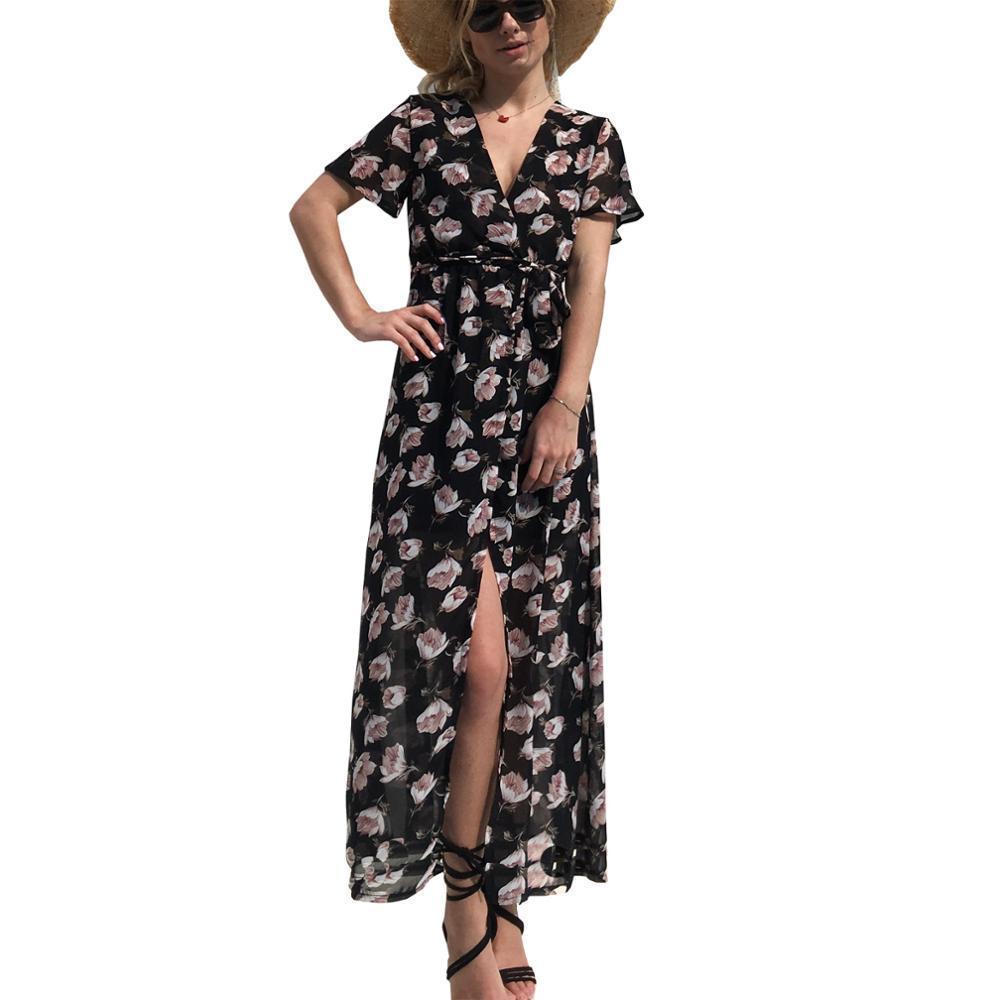 25d9f4c4 Compre Buena Calidad Mujeres Long Beach Wrap Vestido De Manga Corta Sexy  Cuello En V Wrap Vestido Floral Casual Maxi Vestidos Vestidos Moda Verano  2018 A ...