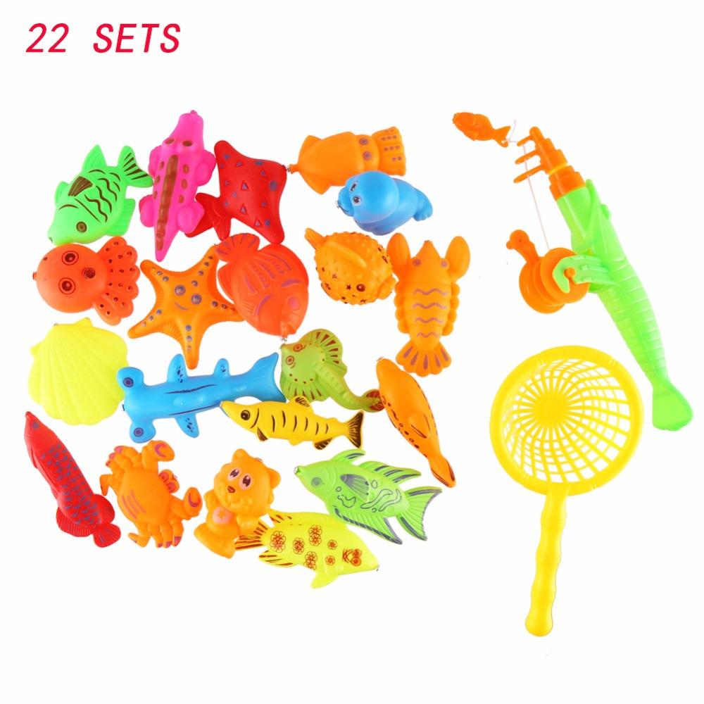 22PCs Set Magnetic Fishing Toy Game Kids 1 Fishing Rod 1 Net 20 3D Fish Baby Bath Toys Outdoor Fun Happy Fish Game