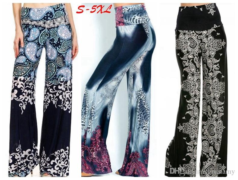 2018 Yeni artı boyutu kadın moda çiçek baskı yüksek bel geniş bacak palazzo pantolon bayan çiçek uzun pantolon