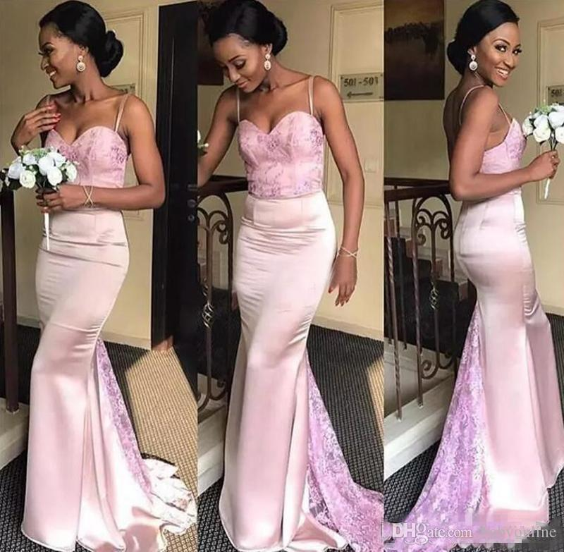 Pale Pink Mermaid Bridesmaids Dresses For African Summer Garden