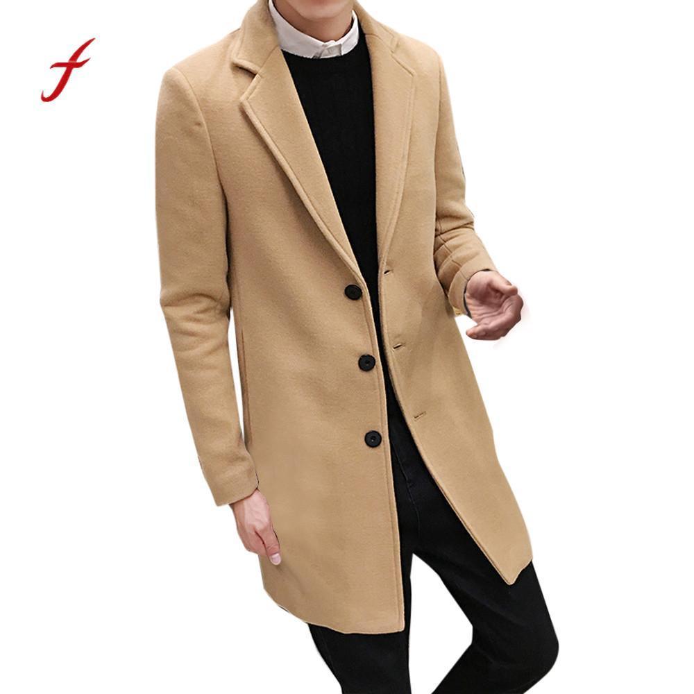 fa8f0b8a8528 Fashion Men Coat Formal Single Jackets Breasted Figuring Overcoat ...