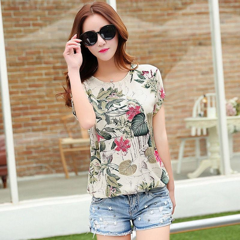 337a2dbfeb6 2019 Summer Blouse Fat MM Plus Size Silk Cotton Linen Loose Floral Printed  Shirt Chiffon Women Casual Short Sleeve Mujer Tops MZ2578 From Caesarl