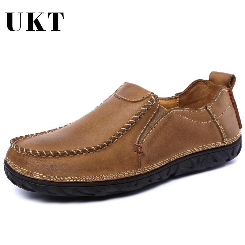 088112b7e26 Compre Nuevos Mocasines De Cuero Genuino Para Hombres Slip On Business Zapatos  Para Hombres 2018 Otoño Invierno Marca De Lujo Transpirable Zapatos De  Hombre ...