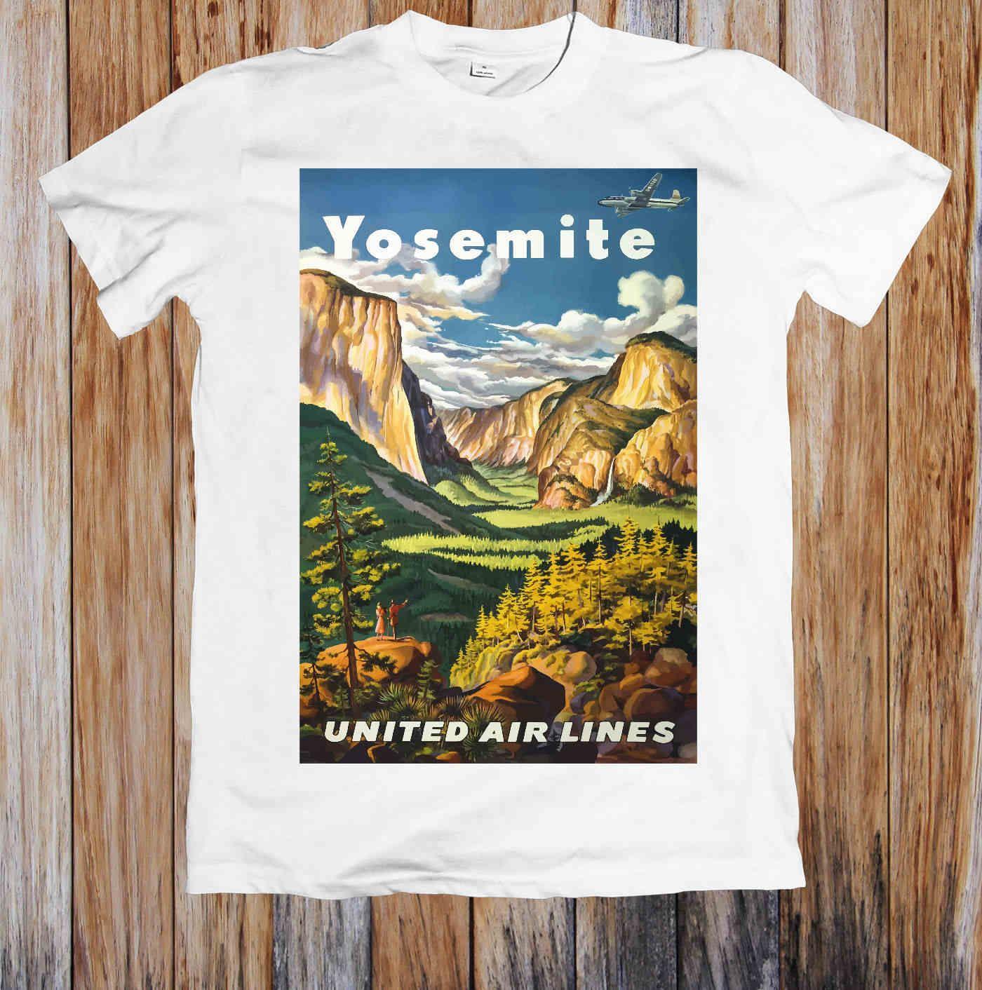 57ceccaaf VINTAGE TRAVEL POSTER YOSEMITE NATIONAL PARK AMERICA UNISEX T-SHIRT