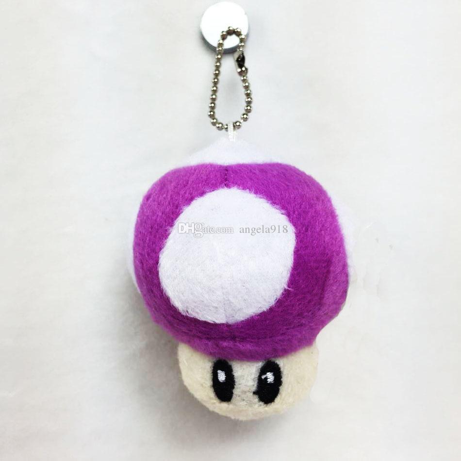 "Super Mario mushroom Plush toys Pendant 7cm 3"" Mario Bros Stuffed Animals Mixed With Key Chain C1727"