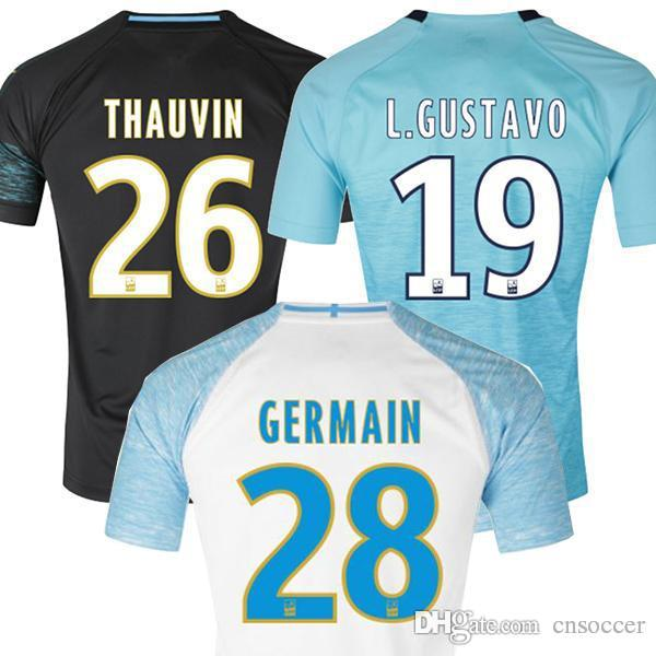 the latest 37794 15c2e Olympique De Marseille soccer jerseys with ligue 1 patch 2019 Marseille  maillot PAYET Camisetas GERMAIN THAUVIN GUSTAVO 18 19 football shirt