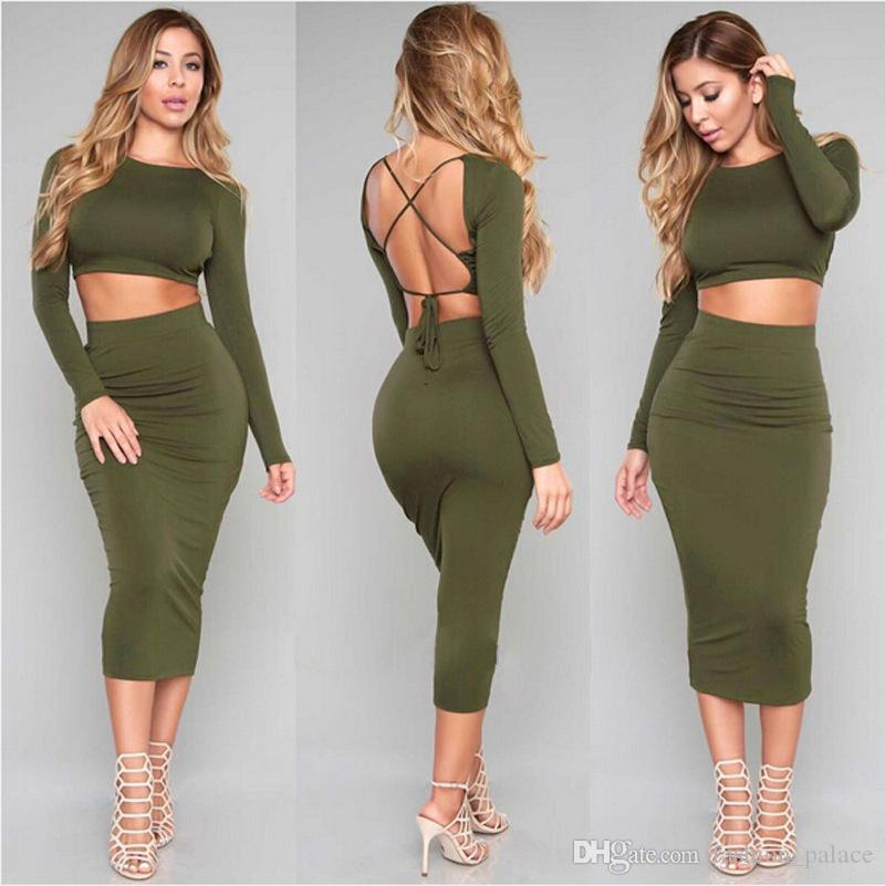 d3555aa27 Women's Long Sleeve Backless Crop Top High Waist Midi Skirt Outfit Two  Piece Bodycon Bandage Dress Green Black Burgundy DZF0604