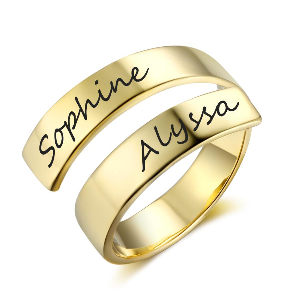 Personalized Gold Color Rings For Women Copper Adjustable Name Engraved Rings For Party Birthday Gifts Ri102973