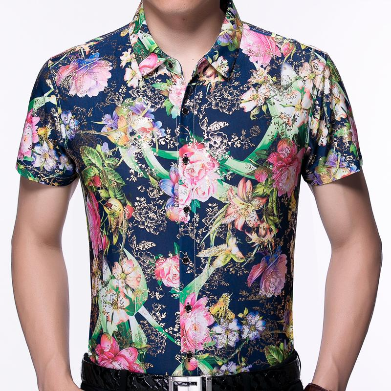 d0463fb5 2019 2018 Summer Short Sleeve Men Hawaiian Shirt Floral Hawaii Dress Casual  Slim Fit Social Clothes Luxury Shirts Mens Fashion 7009 From Michalle, ...