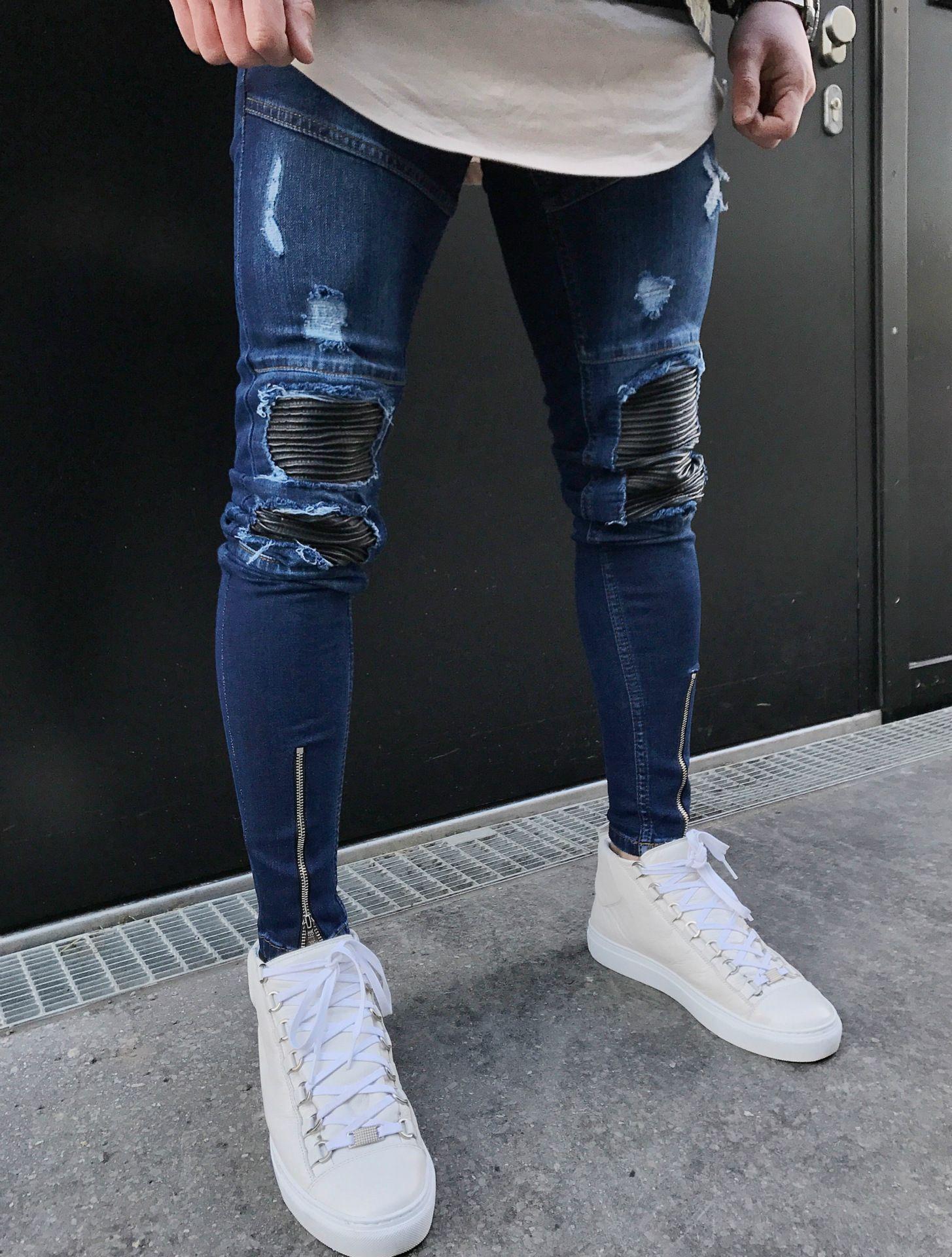 Men's Distressed Ripped Skinny Jeans Fashion Designer Mens Shorts Jeans Slim Motorcycle Moto Biker Causal Mens Denim Pants Hip Hop Men Jeans