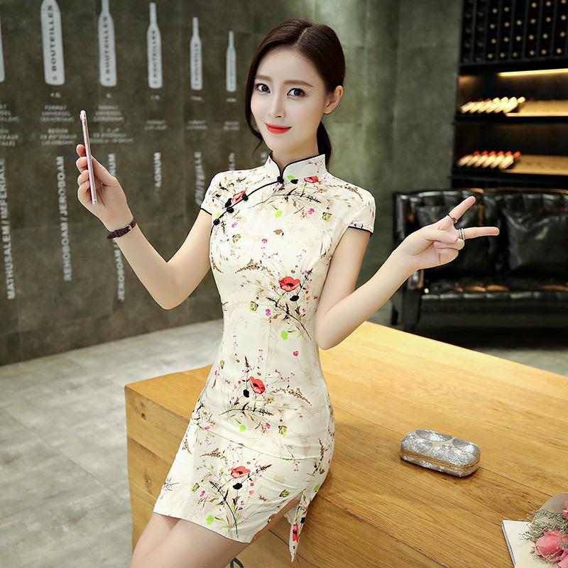 Sexy Moderna Chino Corto Cheongsam 2017 Moda Mini Vestido Qipao Oriental Chica Tradicional Vestidos 3jL4A5RcSq