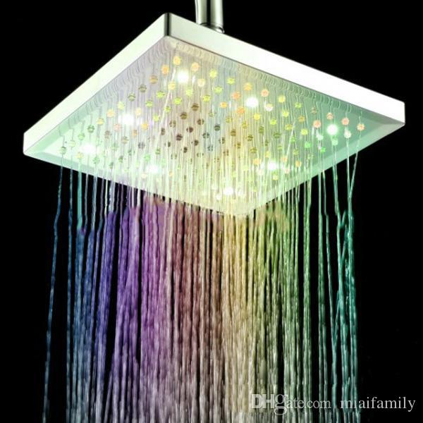 Modern Shower Heads Led Square Bathroom Shower Head with Colorful Lights Feature For LED Heads Waterfall 8-Inch Polished