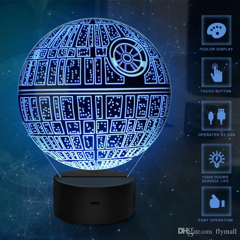 Death Star 3D USB LED Night Light Lamps 3D Optical Illusion Touch ...