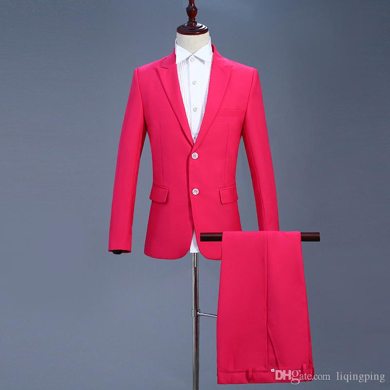 18th Century Rose Red Wedding Stage Performance Suit Costumes Two