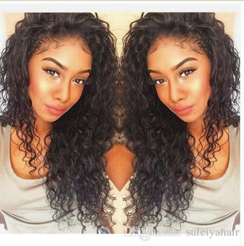 New Arrive Human Virgin Brazilian Hair Lace Front Full Lace Wigs Curly Natural Black Color Soft Baby Hair
