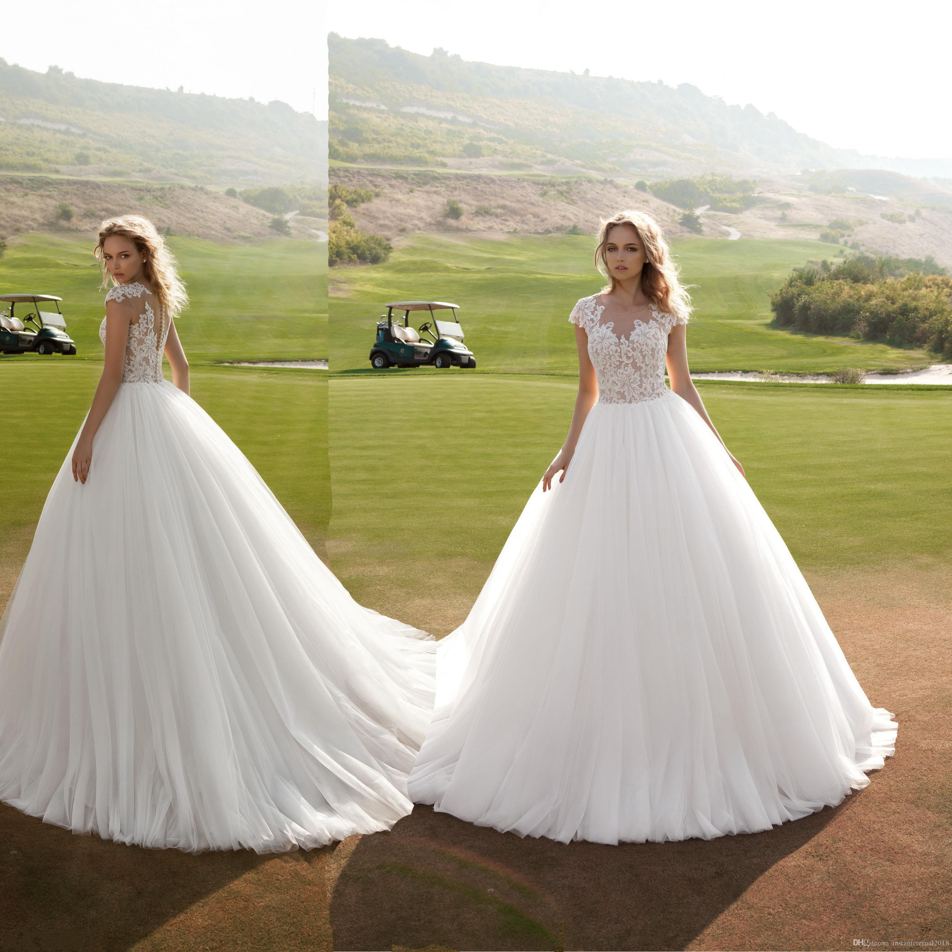 2018 Fashion Ball Gown Lace Top Wedding Dresses Cap