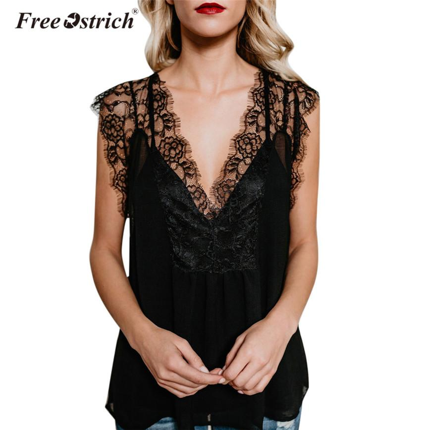 83eacbed943c5d 2019 Free Ostrich Black Lace Tank Tops Women Sleeveless Deep V Neck Chiffon  Tops Summer Transparent Tanks Female D35 From Benedica