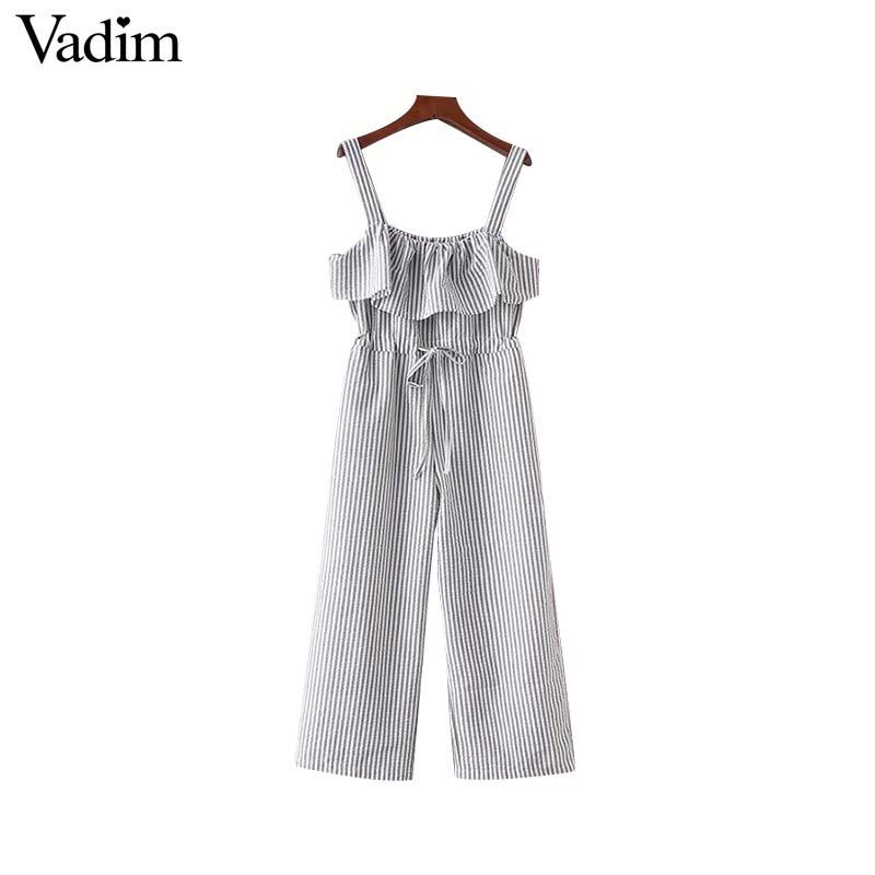 d9699696b4 2019 Wholesale Women Sweet Bow Ruffles Striped Jumpsuits Pockets Straps  Pleated Rompers Ladies Summer Casual Chic Playsuits KA011 From  Clothesb1988