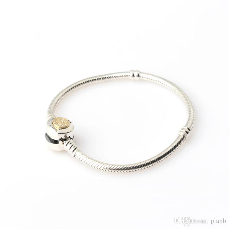 Argent Sterling Femmes Bracelets Blanc Micro Pavé Bracelet Rond Logo Estampillé pour Pandora Charmes Européens Perles Bijoux avec boîte