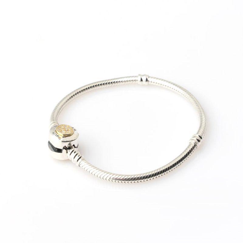 Sterling Silber Frauen Armbänder Weiß Mikro Gepflasterte Runde Armband Logo Stamped für Pandora European Charms Perlen Schmuck mit Box