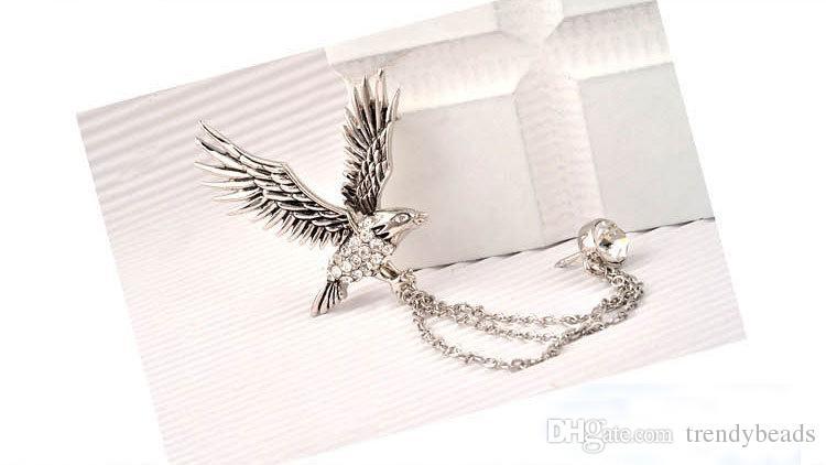 Elegantes águia de lapela Pin emblema dos homens com cadeias de alfinete broche para terno smoking