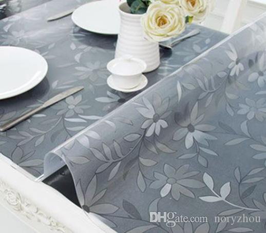 Home Soft Table Cloth PVC Waterproof Hot-resistant Floral-printing Plastic Tablecloth Table Mats Transparent Frosted Crystal Table Covers