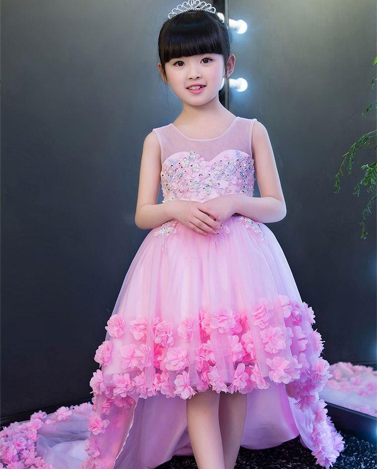 Flexible Pink Tulle Flowers Train Flower Girl Dresses Princess Dresses Girl's Pageant Dresses Custom Made Size 2-6 8 10 12 14 KF403325